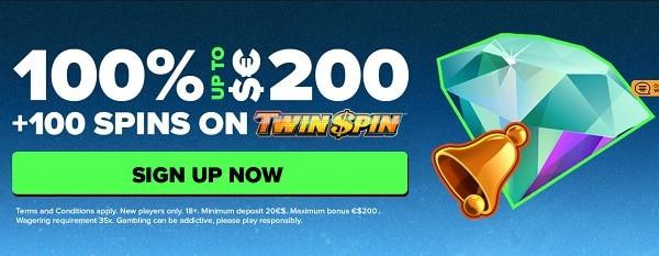 100 gratis spins and 100% free bonus