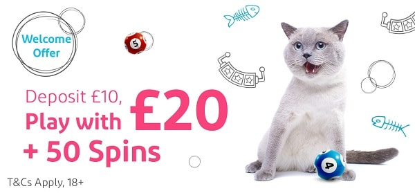 100% bonus of up to £50 and 50 exclusive Free Spins