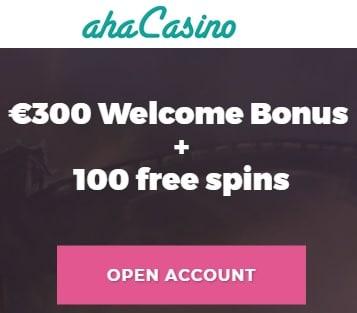 Aha Casino Review 100 free spins + 100% free bonus up to €200