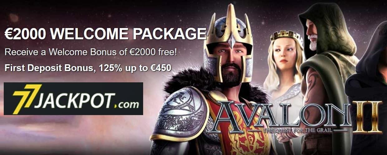 77 Jackpot Casino   7€ free spins and 450% up to €2000 bonus
