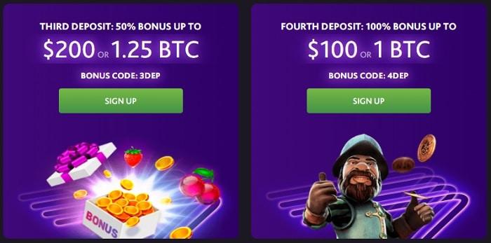 3rd and 4th deposit bonus