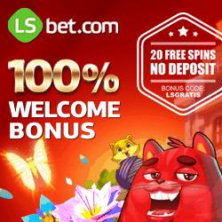 LSBet Casino 20 exclusive free spins (no deposit)   $300 free bonus money