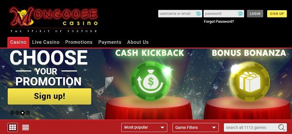 Choose your Welcome Bonus to MongooseCasino.com!