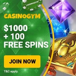 CasinoGym 100 free spins (slots) + 175% up to €1000 bonus (all games)