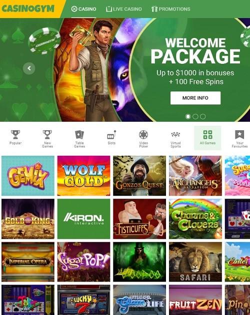 CasinoGym.com free bonus money