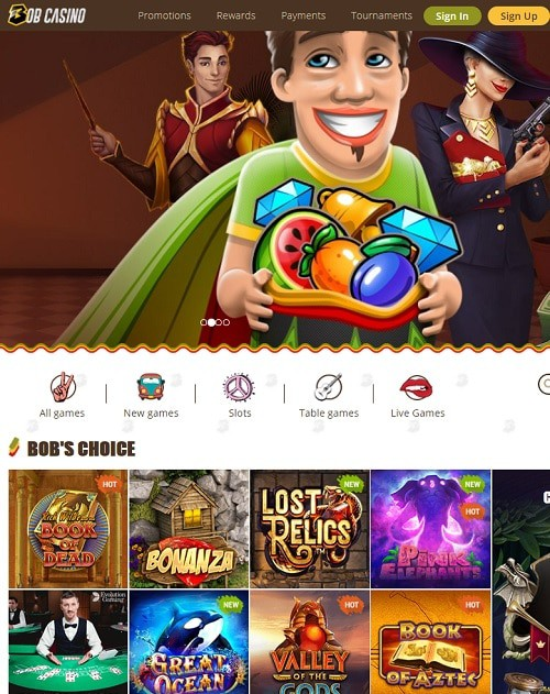 Bob Casino Free Play ad Bonus Codes