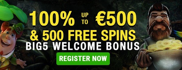 Get 5 gratis spins + 100% bonus + 500 free spins