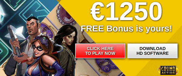 $1250 free money to play at Casino Action!