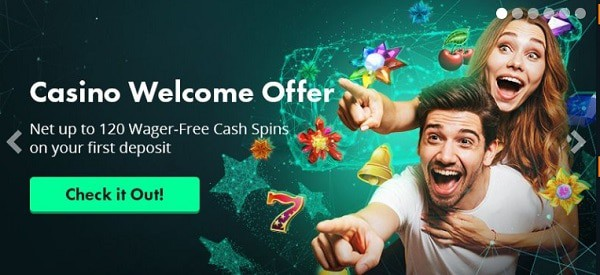 Volt Casino welcome offer - 120 free spins