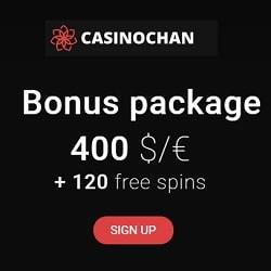 CasinoChan 30 free spins and 100% first deposit bonus