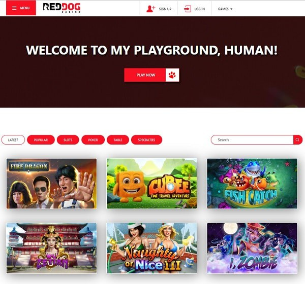 Register at Red Dog and play RTG Casino games!