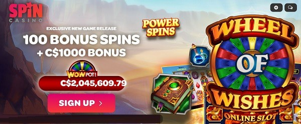 Spin Casino 100 free spins on Wheel of Wishes jackpot slot and $1000 welcome bonus