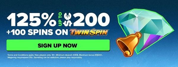 125% exclusive bonus on first deposit up to 200 EUR