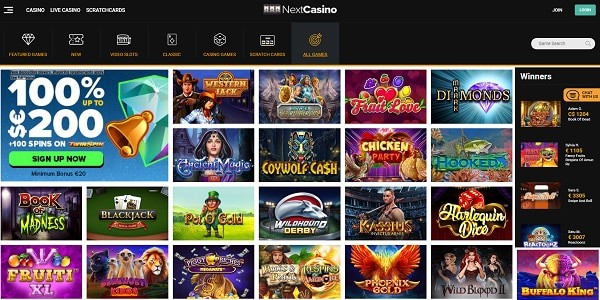 Next Casino bonuses, games, support, payments, licences, review