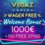 Vegaz Casino 150 wager-free spins and 1000€ bonus codes