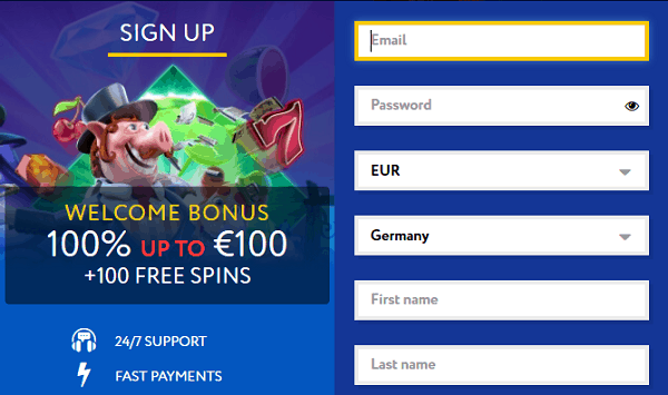 100% up to 100 EUR and 100 Free Spins