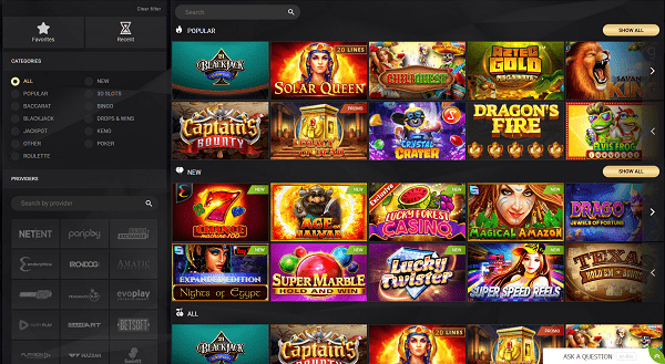 Slots, Table Games, Live Dealer, Jackpots