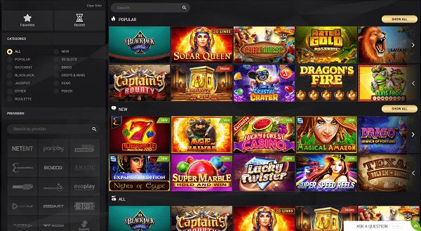 Slots, Table Games, Live Dealer, Jackpots