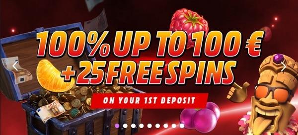 100% bonus + 25 free spins + cashback