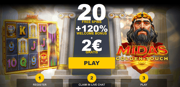 20 free spins plus 2 EUR no deposit bonus