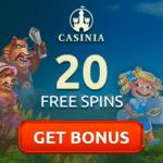 Casinia Casino 20 free spins, no deposit bonus, promotions
