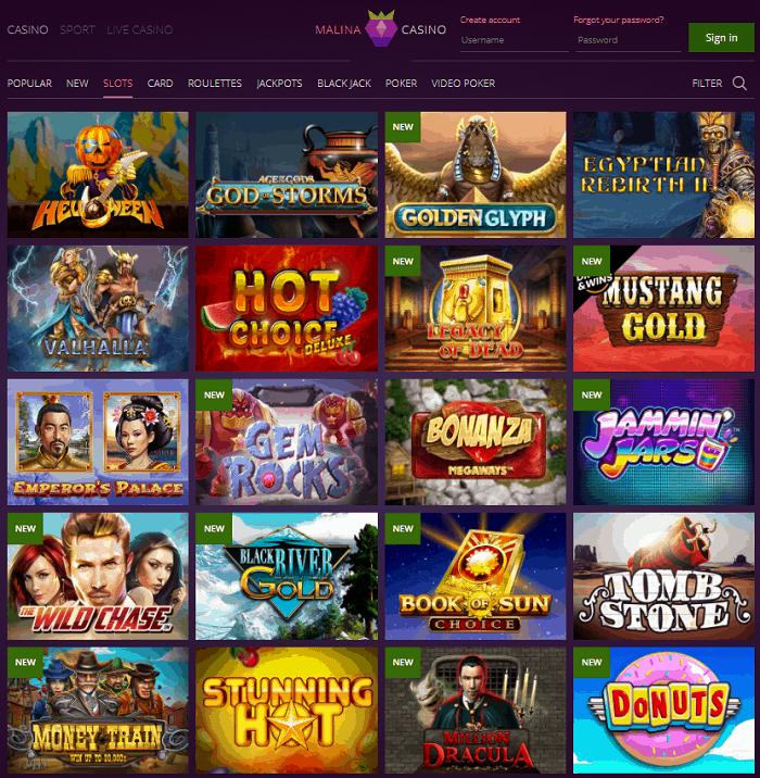 Malina Casino Website Review