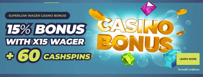 15% cashback bonus