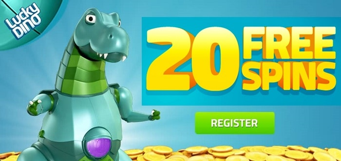 20 exclusive free spins to Lucky Dino Online