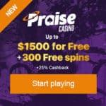 Praise Casino - free spins, no deposit bonus, promotional code