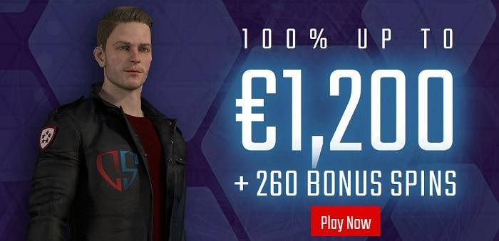 $1200 bonus and 250 free spins!