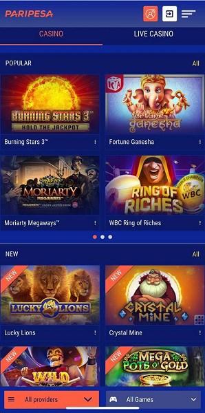 PariPesa Casino Games