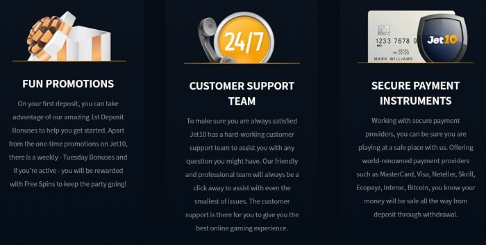 Jet10 Promotions, Support, Payments
