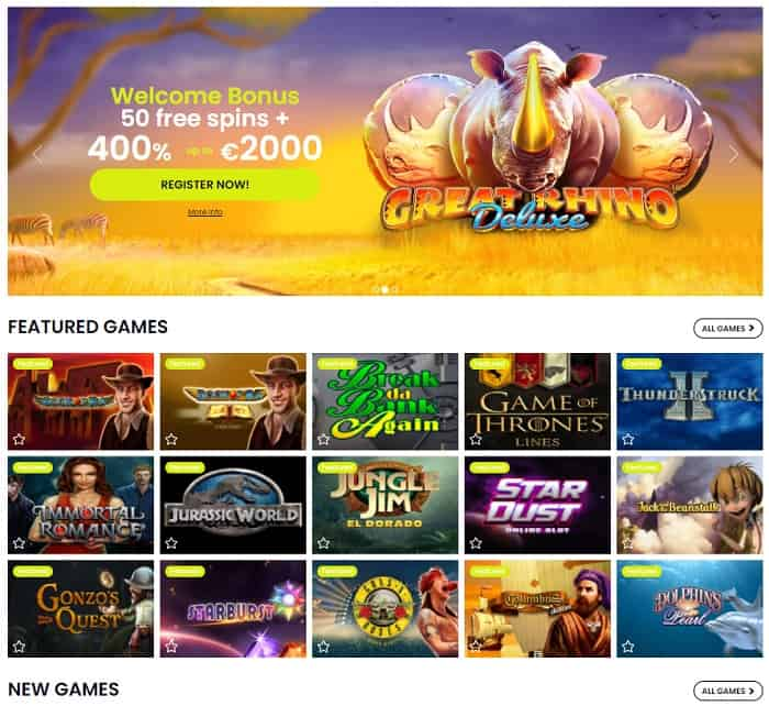 400% welcome offer and 50 gratis spins